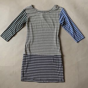 Bailey 44 striped tee shirt dress blue gray green